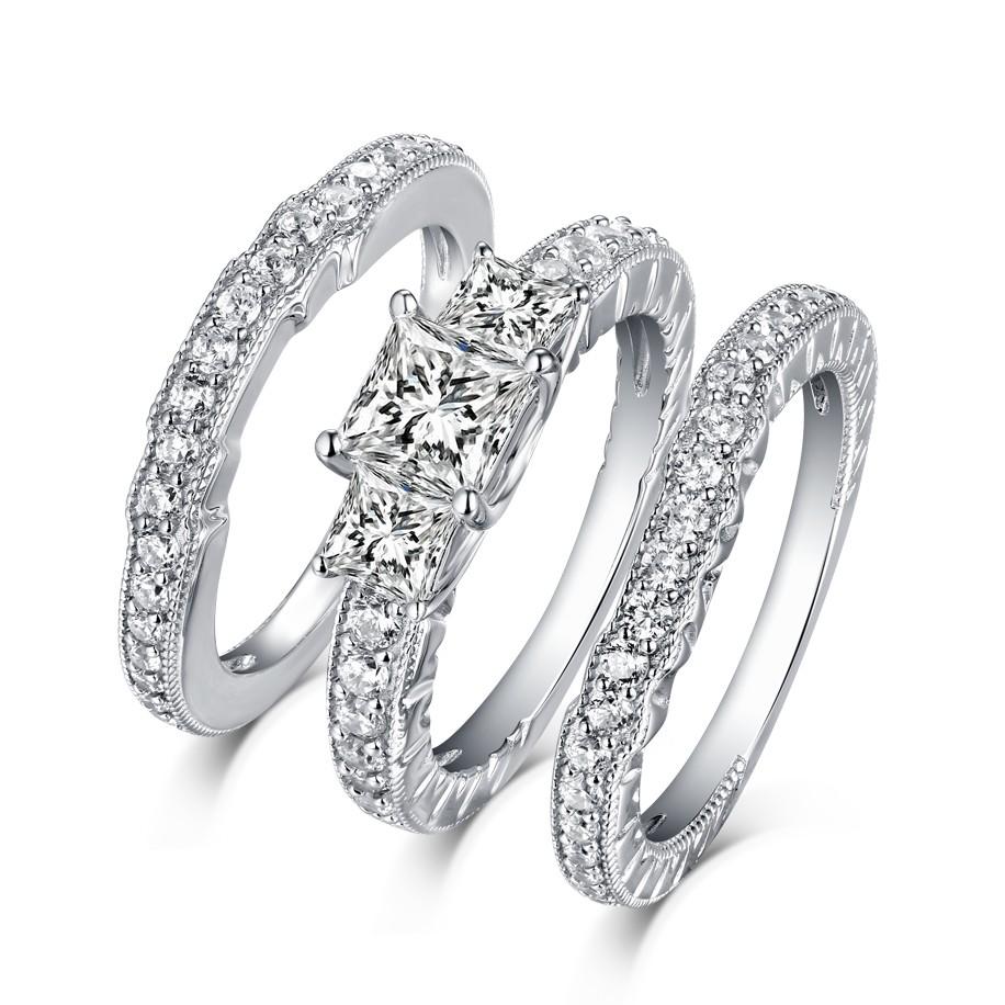 Princess Cut S925 Silver White Sapphire 3-Stone 3 Piece Ring Sets