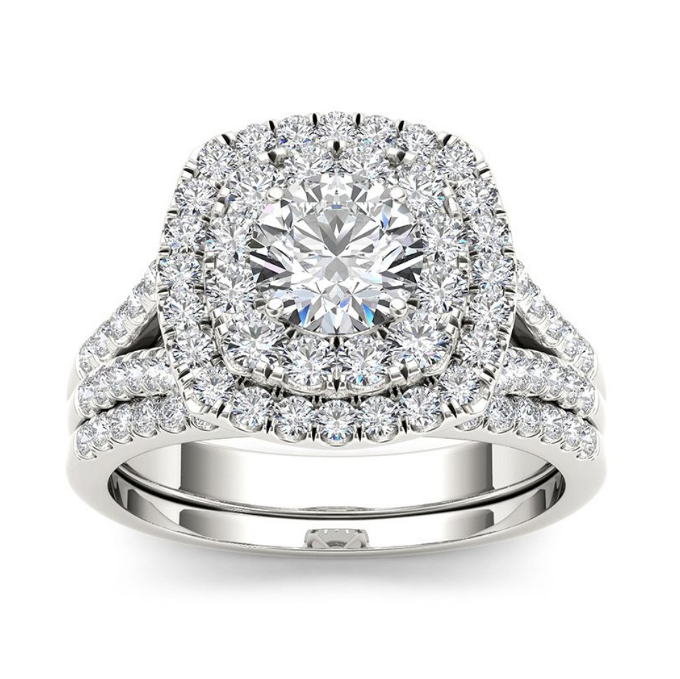 Round Cut White Sapphire Sterling Silver Double Halo Bridal Sets