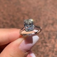 Radiant Cut White Sapphire 925 Sterling Silver Classic Engagement Rings
