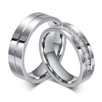 Titanium Steel Round Cut Gemstone Promise Ring for Couples