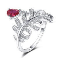 Pear Cut Ruby 925 Sterling Silver Cocktail Ring