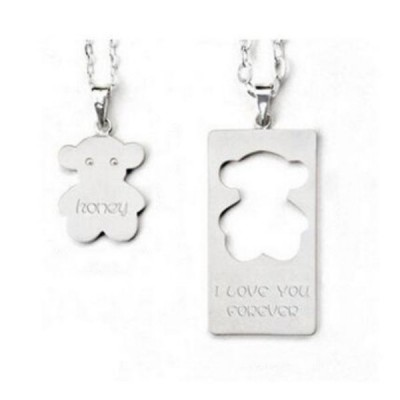 Cute S925 Silver Personalized Engravable Couple Necklaces