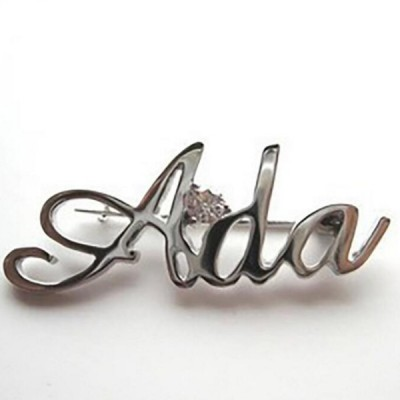 Personalized 925 Sterling Silver Name Brooch