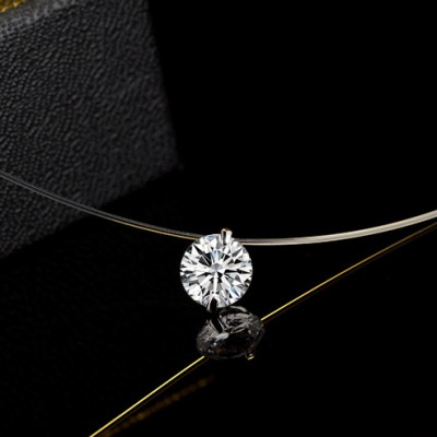 Simple Temperament Zircon Necklace Invisible Line Chain