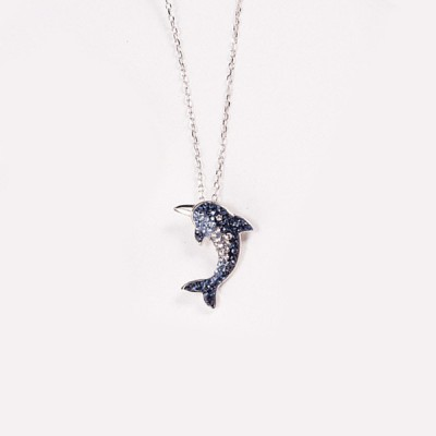 Blue Sapphire Dolphin S925 Silver Necklace