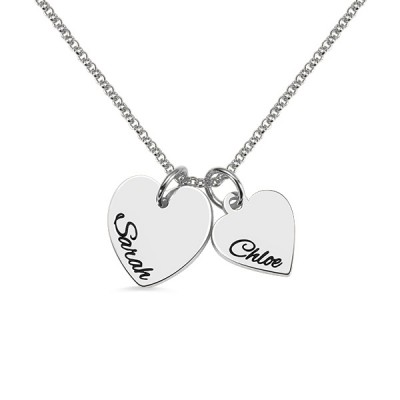925 Sterling Silver Personalized Double Hearts Necklace