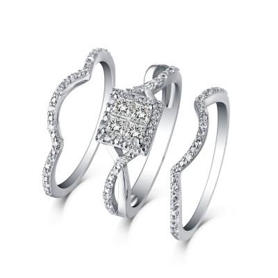 Princess Cut S925 Silver White Sapphire 3 Piece Halo Ring Sets