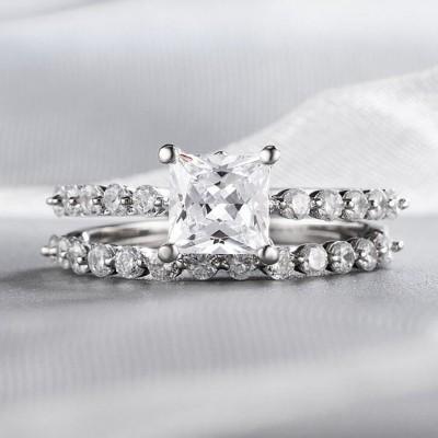Princess Cut White Sapphire 925 Sterling Silver 2-Piece Bridal Sets