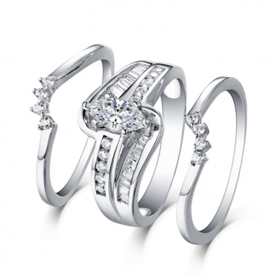 Marquise Cut S925 Silver White Sapphire 3 Piece Ring Sets