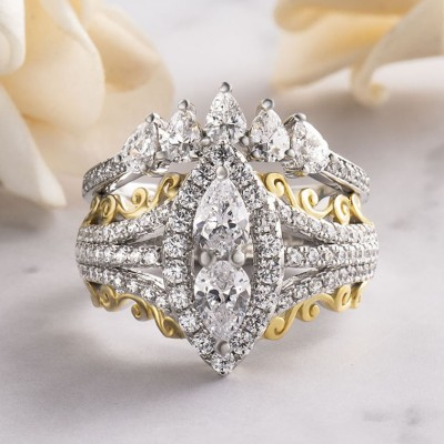 Pear Cut White Sapphire Two-Tone Gold 925 Sterling Silver Halo Bridal Sets