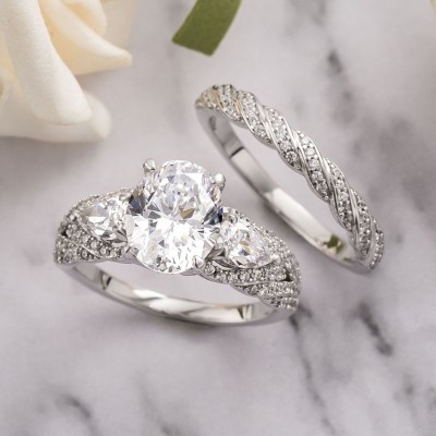Oval Cut White Sapphire 925 Sterling Silver 3-Stone Bridal Sets