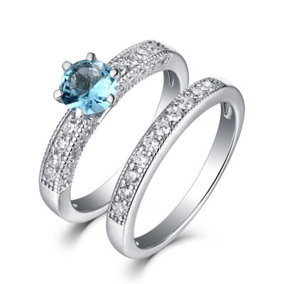 Round Cut Aquamarine 925 Sterling Silver Ring Sets