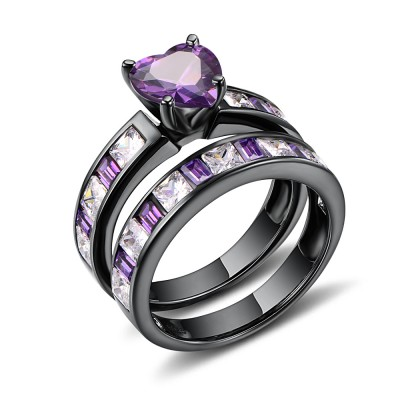 Heart Cut Amethyst Black 925 Sterling Silver Bridal Sets