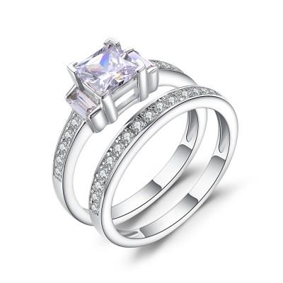 1/3CT Princess Cut Gemstone Sterling Silver Bridal Ring Sets