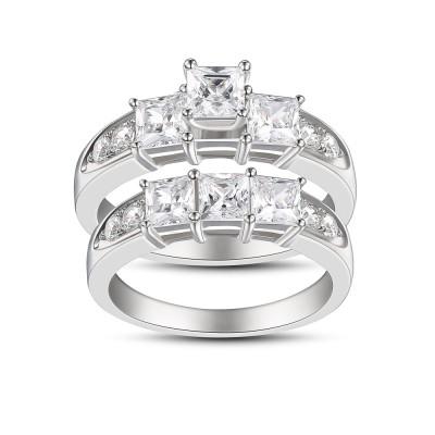Princess Cut White Sapphire Women's 925 Sterling Silver Bridal Sets