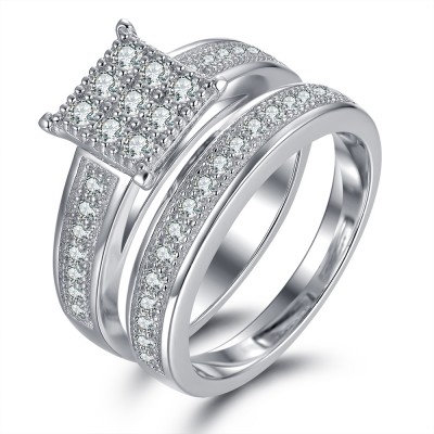 Cute Round Cut White Sapphire 925 Sterling Silver Bridal Sets