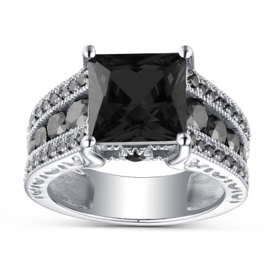 Princess Cut Black Sapphire 925 Sterling Silver Engagement Rings