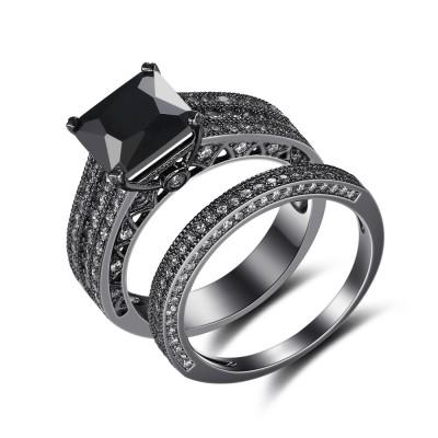 Black 925 Sterling Silver Princess Cut Black Bridal Sets