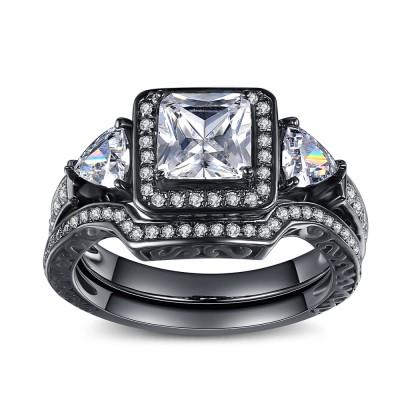 Princess Cut Gemstone Black 925 Sterling Silver Bridal Sets