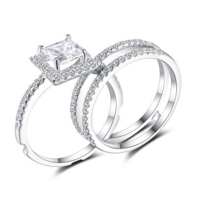Cushion Cut White Sapphire 925 Sterling Silver Bridal Sets