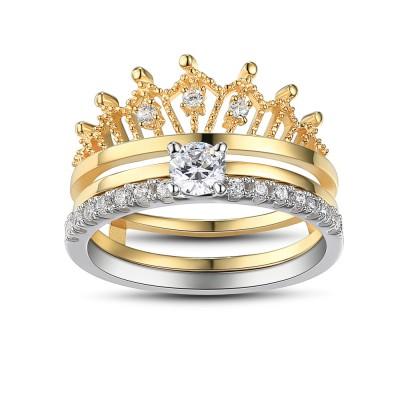 Crown Round Cut White Sapphire Sterling Silver Women's Wedding Ring Set