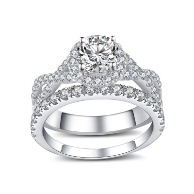 Round Cut 925 Sterling Silver White Sapphire Women's Bridal Ring Set