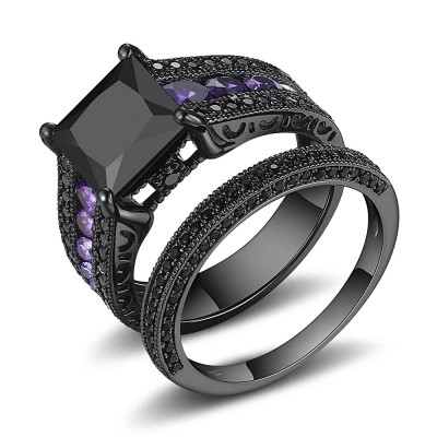 Princess Cut Black and Amethyst Sapphire Sterling Silver Women's Bridal Ring Set