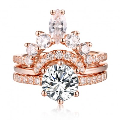 Round Cut S925 Silver White Sapphire Rose Gold Art Deco 3 Piece Sets