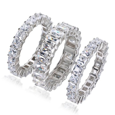Emerald Cut White Sapphire Sterling Silver 3-Piece Bridal Sets