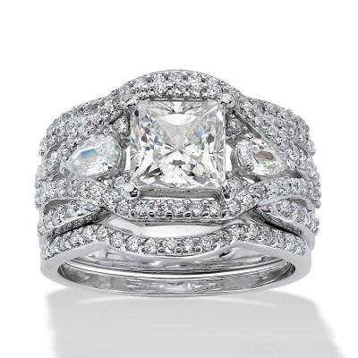 Princess Cut White Sapphire Sterling Silver 3-Stone Trio Bridal Sets