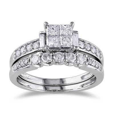 Princess Cut White Sapphire Sterling Silver Bridal Sets