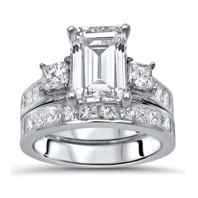 Radiant Cut White Sapphire Sterling Silver 3-Stone Bridal Sets