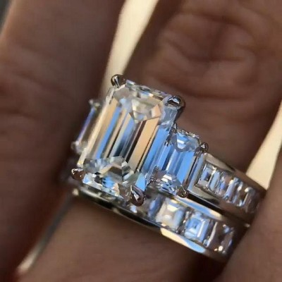 Emerald Cut White Sapphire 925 Sterling Silver 3-Stone Bridal Sets