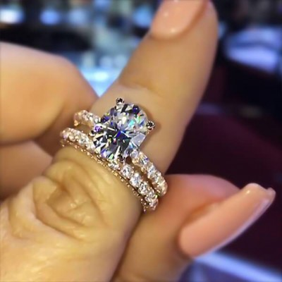 Oval Cut White Sapphire 925 Sterling Silver Rose Gold Bridal Sets