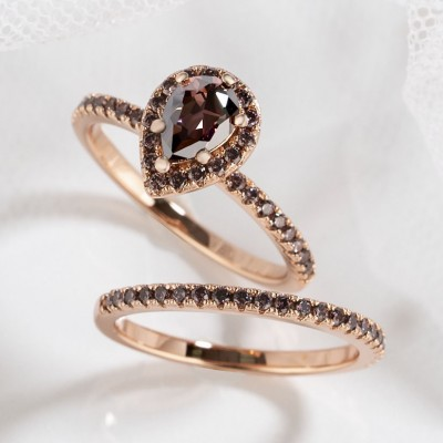2.3CT Pear Cut Chocolate 925 Sterling Silver Rose Gold Halo Bridal Sets