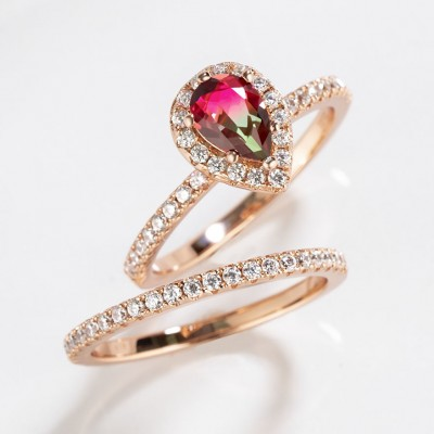 2.3CT Pear Cut 925 Sterling Silver Rose Gold Halo Watermelon Bridal Sets