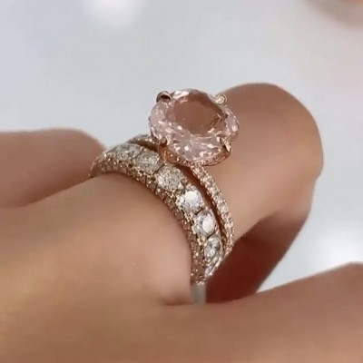 Cushion Cut Champagne Sapphire 925 Sterling Silver Rose Gold Bridal Sets