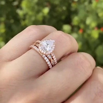 Pear Cut White Sapphire Rose Gold 3-Piece 925 Sterling Silver Halo Bridal Sets