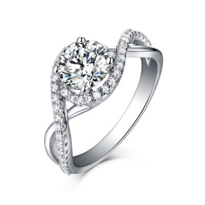 Unique Round Cut 925 Sterling Silver Halo White Sapphire Engagement Rings