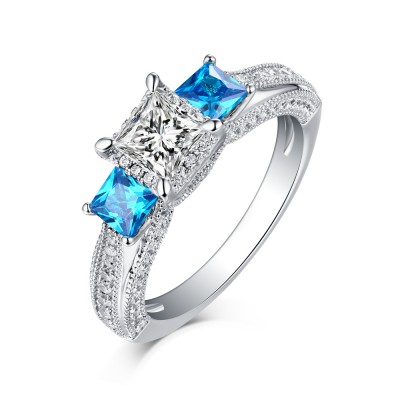 Princess Cut Aquamarine & White Sapphire S925 Three-Stone Engagement Rings