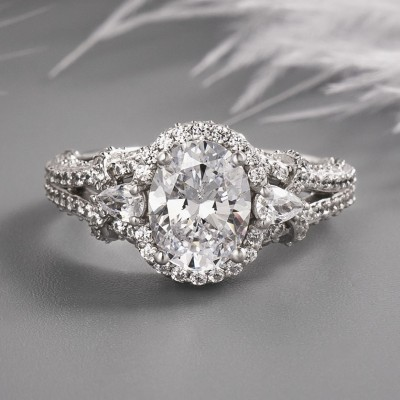 Oval Cut White Sapphire 925 Sterling Silver Halo 3-Stone Engagement Rings
