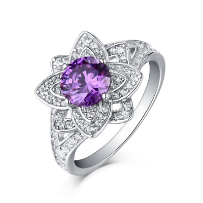 Round Cut 925 Sterling Silver Amethyst Art Deco Engagement Rings