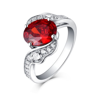 Round Cut Ruby 925 Sterling Silver Engagement Rings