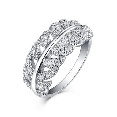 Round Cut S925 Silver White Sapphire Art Deco Leaf Rings