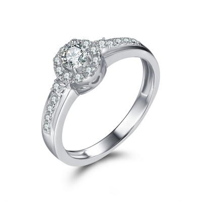 Round Cut White Sapphire Sterling Silver Engagement Ring