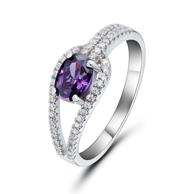 Oval Cut Amethyst 925 Sterling Silver Cocktail Ring