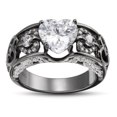 Heart Cut White Sapphire 925 Sterling Silver Women's Ring