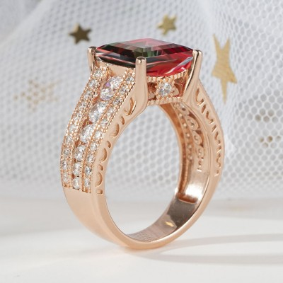 5.56CT Princess Cut 925 Sterling Silver Rose Gold Watermelon Engagement Rings