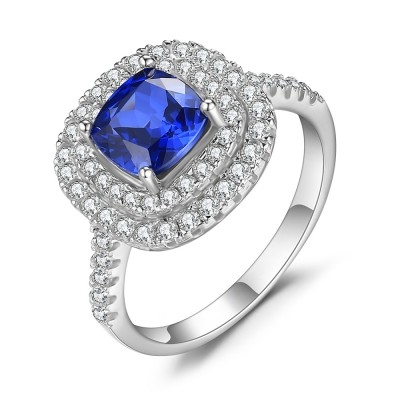 Asscher Cut Sapphire 925 Sterling Silver Cocktail Ring