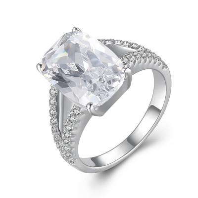 Cushion Cut Gemstone 925 Sterling Silver Engagement Ring